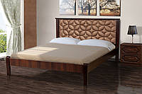 Кровать деревянная  двуспальная 160х200 Рубин с мягким изголовьем