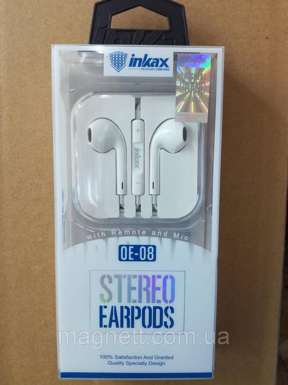 Наушники iPhone INKAX OE-08 series Earphone for Apple White
