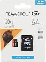 Карта памяти Team microSDHC class10 UHS-1 SD adapter 64Gb Black