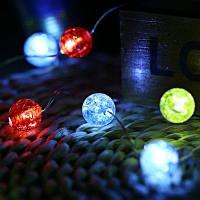2M 20 светодиодов Цветные стеклянные бусины Shape Cooper Wire String Light - Разноцветный