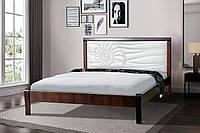 Кровать деревянная  двуспальная 160х200 Аква с мягким изголовьем