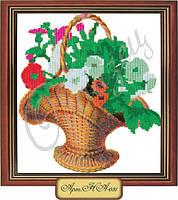 Схема для вышивки бисером «Цветочное соцветие в корзине»