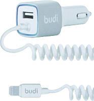 Автомобильное зарядное устройство BUDI Car charger Blue Led Lightning 1.2 m + 1USB 2.4A White, фото 1