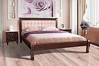 Кровать деревянная  двуспальная 160х200 Соната с мягким изголовьем