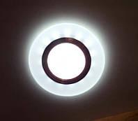 Точечный светильник с LED подсветкой матовый белый встраиваемый круглый 7870R