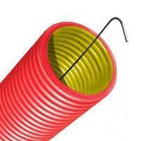 Труба 125мм двустенная красная ПНД с протяжкой гофрированная