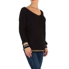 Женский пуловер с манжетами в полоску бренда Milas (Европа), Черный