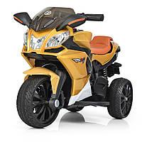 Детский электромобиль Мотоцикл_RS4, 3-х колесный, Кожаное сиденье, EVA-резина, дитячий електромобіль золото