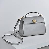 Жіноча сумка маленька з натуральної шкіри сіра опт