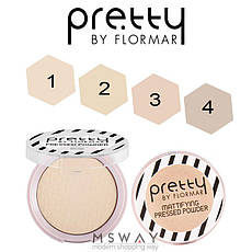 FlorMar PRETTY - Пудра компактная матирующая Mattifying Pressed Powder Тон 02 light porcelain beige, фото 3