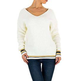 Женский пуловер с манжетами в полоску бренда Milas (Европа), Белый