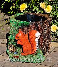 Садовая фигура цветочник Пенек с белкой, фото 3