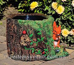 Садовая фигура цветочник Пенек с белкой, фото 2
