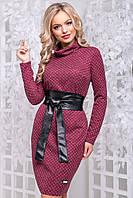 Трикотажное Комфортное Платье Воротник Хомут Марсала М-2XL, фото 1