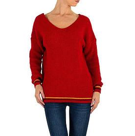 Женский пуловер с манжетами в полоску бренда Milas (Европа), Красный