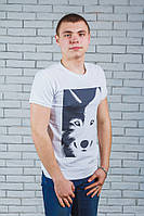 Мужская футболка с печатью белая