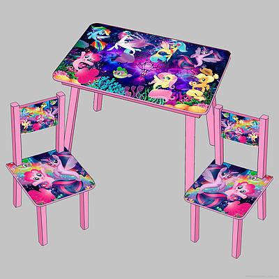 """Детский столик и 2 стульчика """"Пони Русалки"""""""