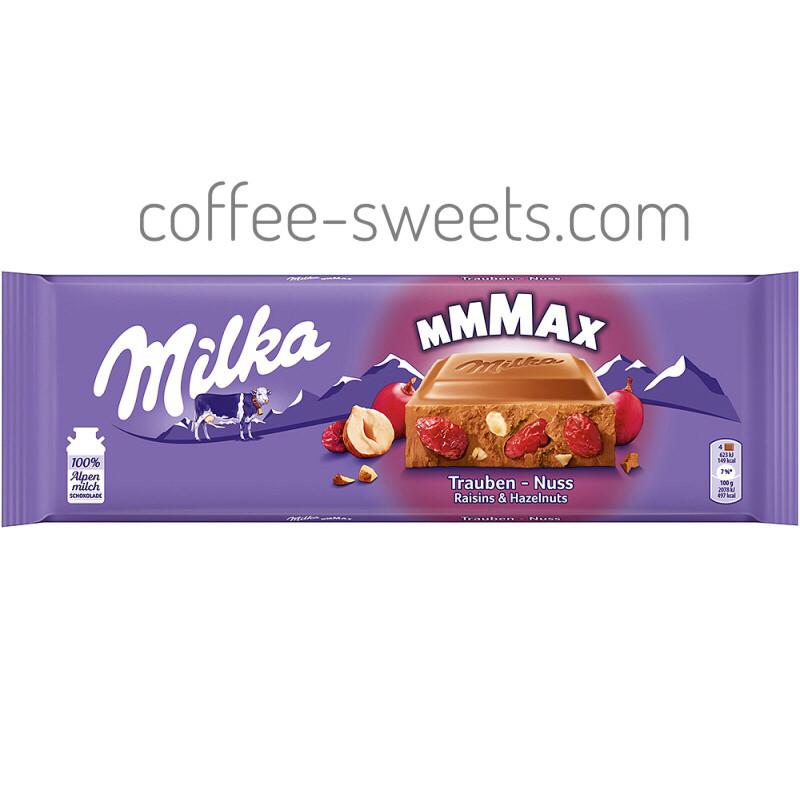 Шоколад Milka Trauben Nuss молочный цельный орех и изюм 300 г