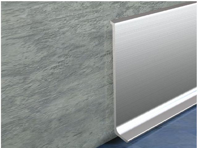 Плинтус из натурального алюминия серебряный блестящий брашированный