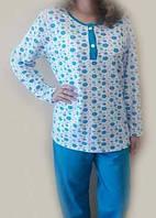 Теплая пижама с начесом женская зимняя хлопковая трикотажная кофта с брюками