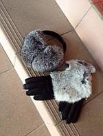Женские кожаные перчатки с натуральным мехом из кролика
