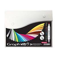 Набор двухсторонних Brush маркеров Essential, 24шт, Graph'it