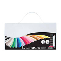 Набор двухсторонних Brush маркеров Essential, 36шт, Graph'it