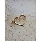 """Заколка для волос """"Сердце"""", золото, маленькое, 1 шт, фото 2"""