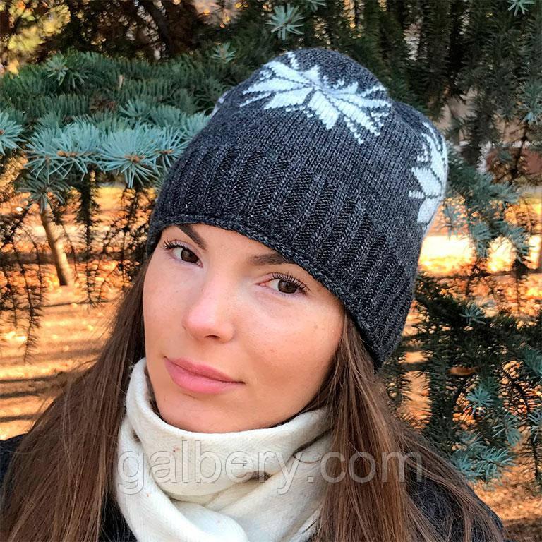 Зимова шапка з норвезьким орнаментом