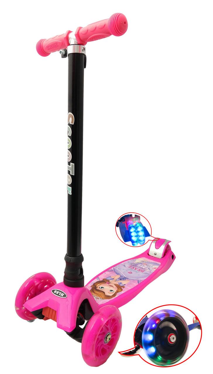 Трехколесный самокат розовый 21Scooter MAXI PRINT - Принцесса