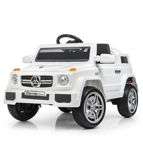 Детский электромобиль Mercedes M 2788 EBLR-1 белый, мягкие колеса и кожаное сиденье