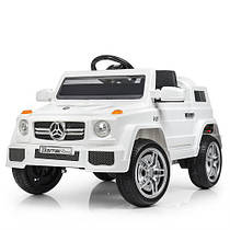 Дитячий електромобіль Mercedes M 2788 EBLR-1 білий, м'які колеса і шкіряне сидіння