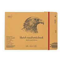 Альбом для ескизов AUTHENTIC (Kraft) А5 (24,5*17,6см), 90г/м2, 24л, коричневый цвет, SMILTAINIS