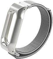 Ремешок UWatch Magnetic Wristband Custom Nylon Watch Strap For Xiaomi Mi Band 2 Silver, фото 1