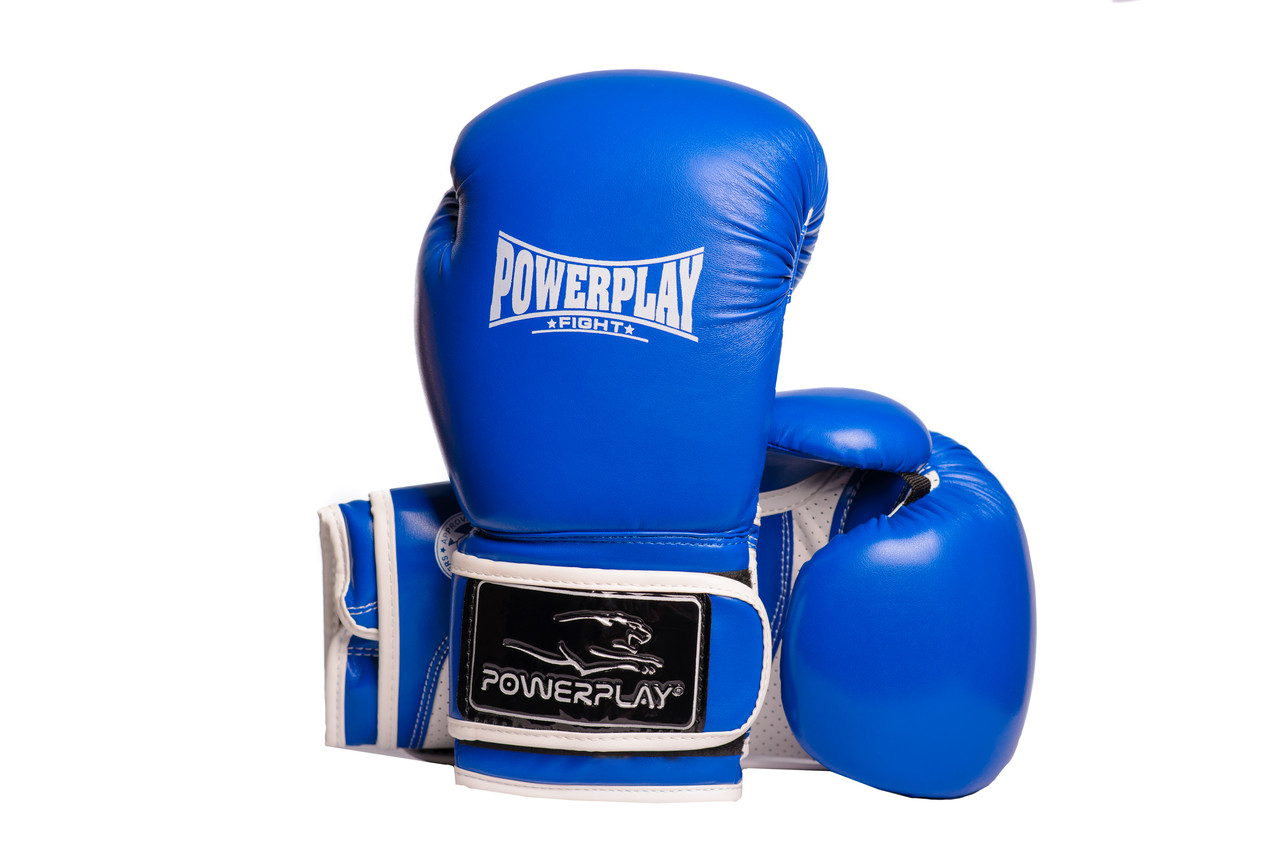 Боксерские перчатки PowerPlay 3019 синие 8 унций