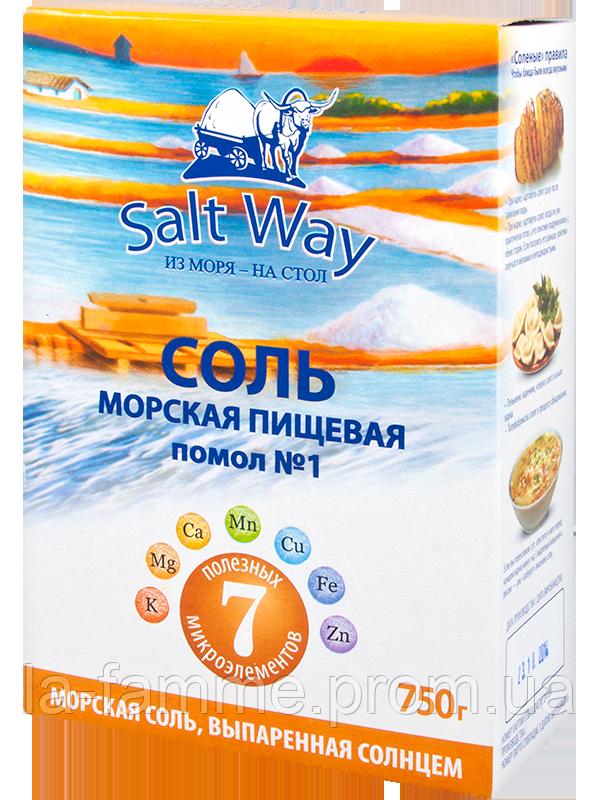 Соль морская пищевая, помол №1, 750г, картон Salt Way