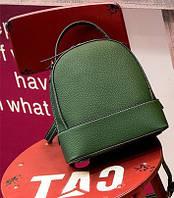 Кожаный рюкзак-сумка женский зеленый опт