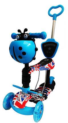 Детский самокат Scooter 5 в 1, самокат беговел с сиденьем и родительской ручкой - The UK, фото 2