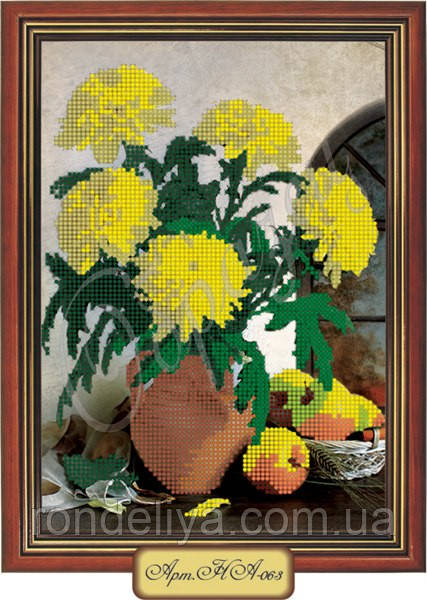 Схема для вишивки бісером «Жовті хризантеми у вазі»