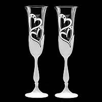 Свадебные бокалы с гравировкой и стразами Swarovski