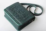 Кожаная женская сумка, зеленая сумка, сумка через плечо, фото 1