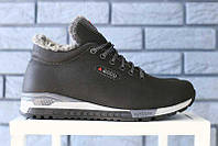 Зимние  мужские кроссовки Ecco натуральная кожа теплые повседневные на зиму на шнурках (черные), ТОП-реплика, фото 1