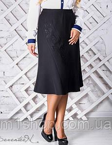Женская черная юбка с вышивкой больших размеров (2312 svt)