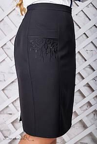 Женская черная юбка с карманами больших размеров (2313 svt)