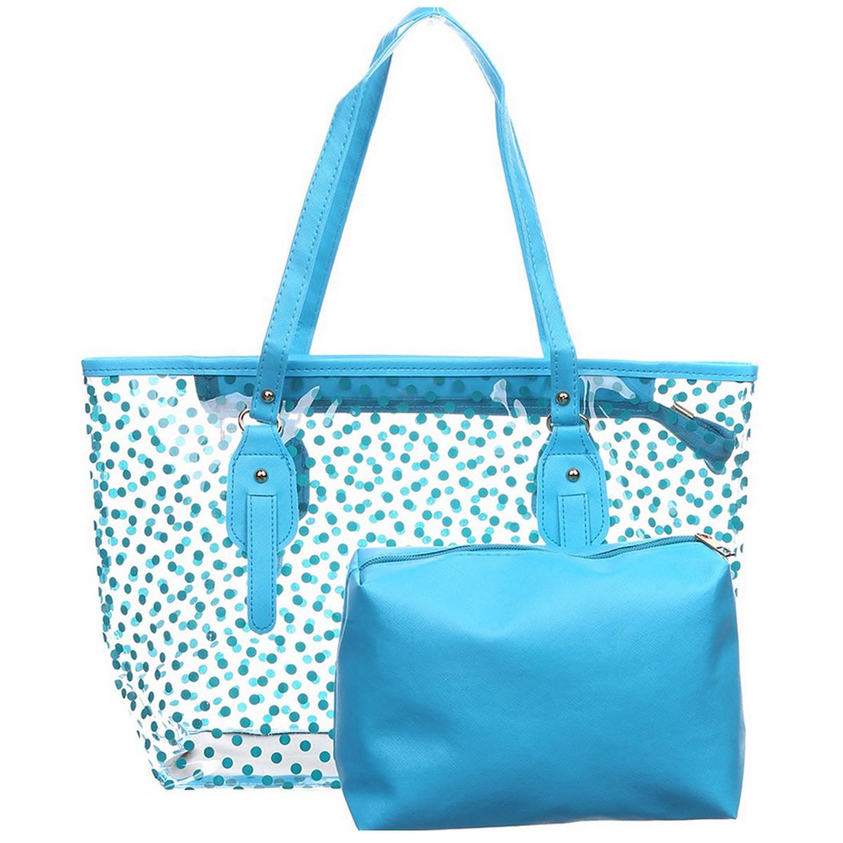 Пляжная сумка (набор), голубая пляжная сумка, пляжная сумка с клатчем из силикона   СС-3517-20