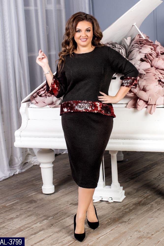 e58a78043a9 Женский костюм юбка и блуза ангора арктика+ двухцветная паетка размеры 50-52