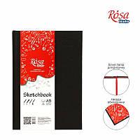 Блокнот A5 (14,8*21см), 100г/м, 96л., черный, ROSA Studio