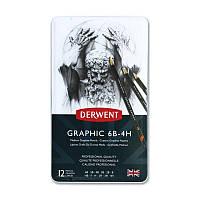 Набор графитных карандашей Graphic Designer Medium в мет.короб. 12шт.(ассорти от 6В до 4Н), Derwent