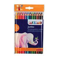Набор толстых цветных карандашей Lakeland JAMBO 9.8мм в блист.12 цветов, Derwent