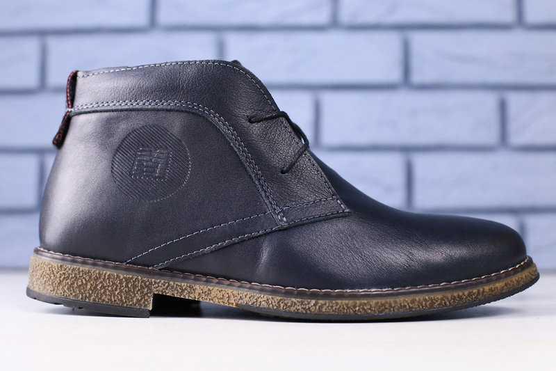 Ботинки мужские на зиму качественные на меху стильные классика прошиты (синие), ТОП-реплика